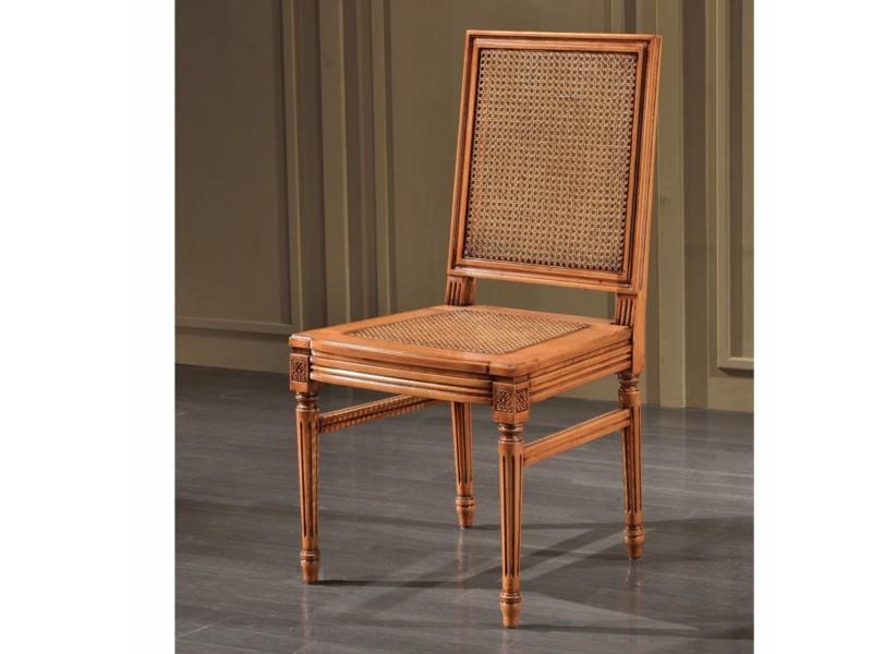 art. 103S/canna e ri.  Sedia luigi xvi quadra con schienale e seduta cannata con rinforzi laterali