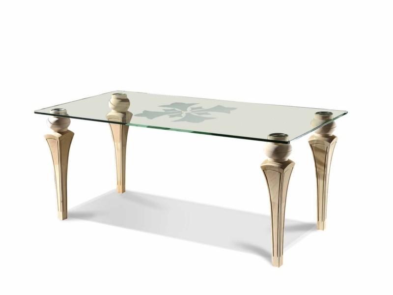 art. 65T/V Tavolo venere piano vetro gamba a spillo 200x100