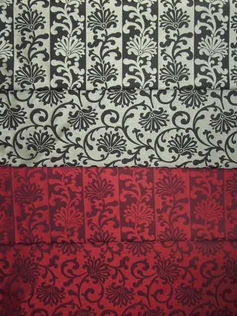Lisbona Rigato Ramage Nero Rosso